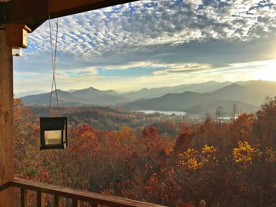 Breathtaking view of Lake Chatuge and mountains of Brasstown Bald.