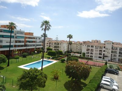 Photo for Beautiful 110 m2 apartment with pool, tennis and terrace with sea views.