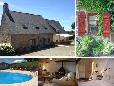 Photo for Charming Breton Farmhouse, heated private pool, full facilities