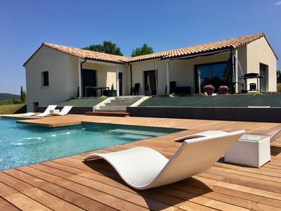 Photo for Beautiful new house Perigord black, private pool overflow 12mx5m