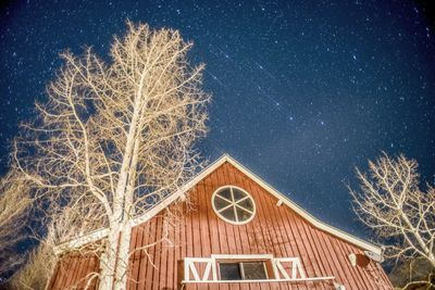 The front of the Mule Barn at night.