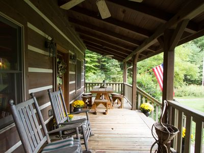 Photo for Modern Log Cabin on 200 acres 30 minutes from Asheville