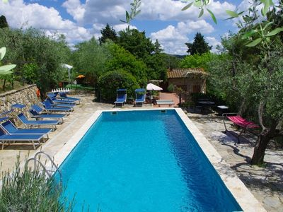 Photo for Real tuscan farmhouse in the heart of Chianti hills with pool