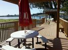 Deck with plenty of seating to enjoy the bay.