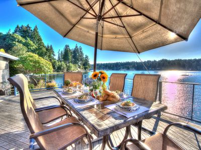 Photo for Spacious waterfront beachhouse with dock & buoy on inner Quartermaster Harbor