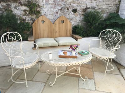 Enjoy a nice cup of tea in the peaceful courtyard.