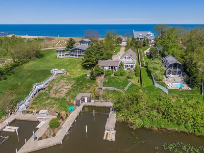 Photo for GALIEN RIVERFRONT HOME: Private Lake Michigan Beach. Hot tub. Fire pit.