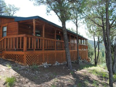 Photo for Spectacular Views! Cozy and peaceful this cabin borders the national forest!