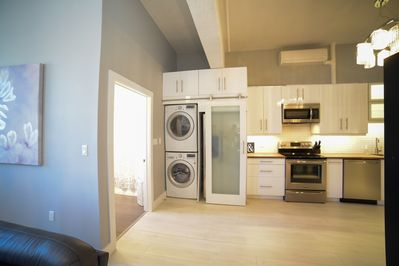 Fully Kitchen and full size washer and dryer
