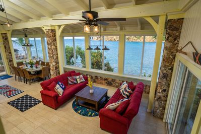 Great Room with glass surround.  Full views and sounds of the surf below. A/C.