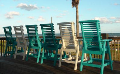 Deck rail height chairs for great mornings and afternoons with friends and fam