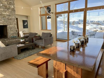 Dining/Living rooms with Baldy view in winter
