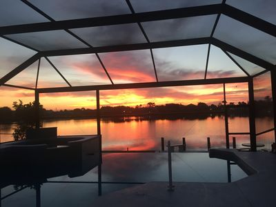 Sunrise from the deck overlooking the pool and Lake.