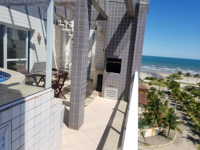 Photo for Triplex penthouse 50 meters from the beach, private pool and three grills
