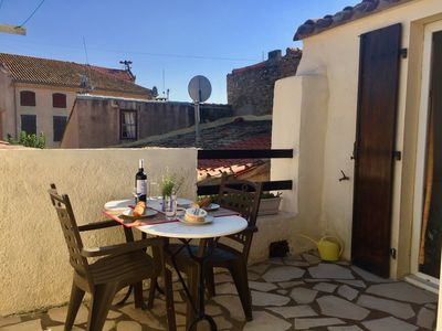 Photo for Centre of Olonzac, market views, 2 bedrooms & private sunny rooftop terrace