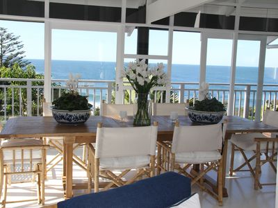 Indoor dining table and view