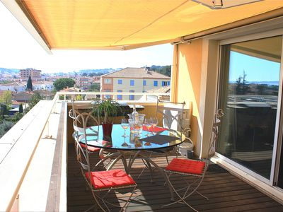 Photo for SANARY SUPERB CONTEMPORARY APARTMENT WITH SEA VIEW AND LARGE TERRACE