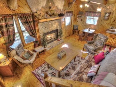 Photo for Cozy rustic cabin with wrap-around deck in the heart of Alpine Helen