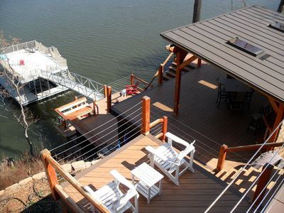 Outside Decks And Dock, WIFI is in the Tiki Bar.