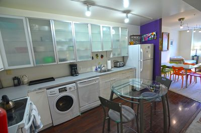 Large eat in kitchen, Fully equipped. Washer Dryer combo.