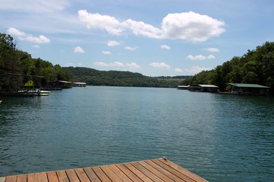 Your view of the deep, quiet cove from the swim platform. Swim & fish here!