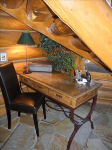 One of two desk areas - this one tucked under the stairs in great room.