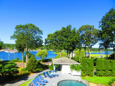 Master Bedroom View of Pool and Three Mile Harbor