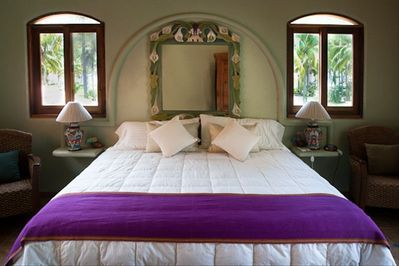 Comfortable King bed in upstairs master suite.