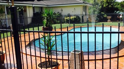 Solar heated swimming pool to use in the warmer months