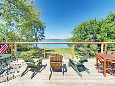 Waterfront Gem! Renovated 3BR Cottage w/ Expansive Deck & Multiple Fireplaces
