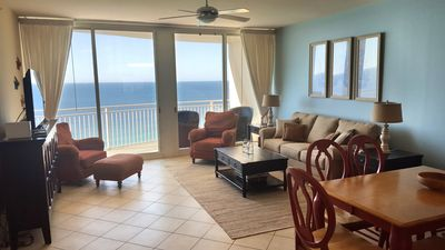 Great gulf views from one of the largest 2BR living rooms on the beach!