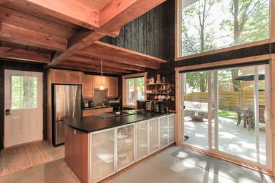 Fully equipped kitchen includes coffee machine, fondue pot & slow cooker