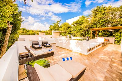 Private rooftop- Imagine relaxing in the evening with a fruity concoction...