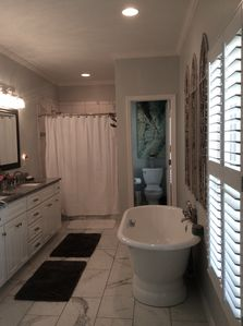 Master bath with soaking tub.
