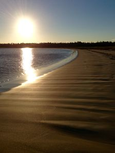 Late afternoon sun.  Other than the birds, the beach to ourselves.  At low tide.
