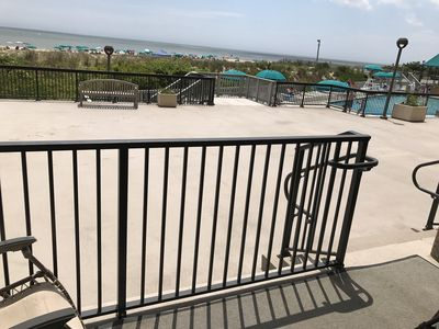 "Photo for Ocean Front ""Point"" promenade level platinum unit steps to ocean and pool"