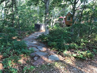 View of our home and walking path from the driveway!