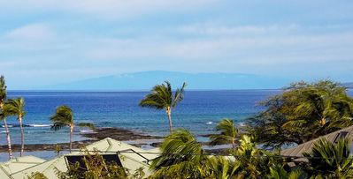 View from the lanai.  You can see Haleakala (Maui) off in the distance