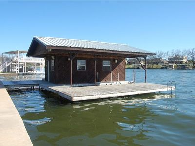 Swimming/Fishing Area Boat House with two Electric Lift Stalls