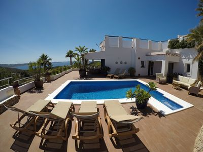 Photo for Hilltop Villa with Stunning Sea & Sunset Views, near Cala Salada & San Antonio