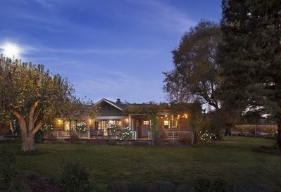 'Mona Front View at night -spectacular sunsets and acres of vineyards on all sides
