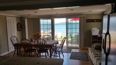 Dining room. Double sliders open up to the deck.