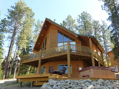 Photo for Stunning Log Cabin with beautiful views, hot tub and game room!
