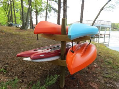 Included - 3 Kayaks, 2 Paddle Boards, Paddles, Life Vests, Boogie Boards