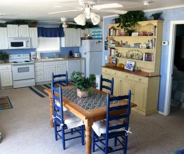 The bright and open kitchen area