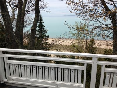 Lake Michigan  and its sandy beach from the one of the decks on the waterside of