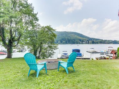 Photo for Lakefront home w/ dock, patio, firepit & lovely lake views - dogs welcome!
