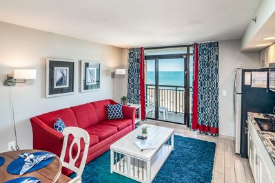 Our condo was just decorated for April 2019!  Enjoy direct oceanfront views!