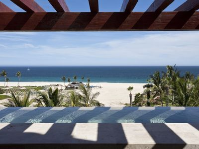 View from a Villa Terrace out to the beach and the Sea of Cortez.