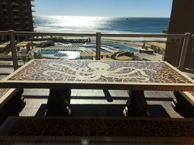 Patio Dinning table looking out to ocean